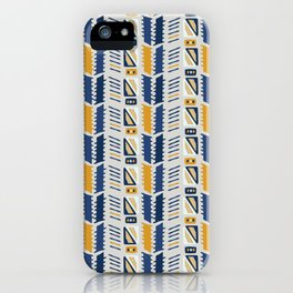 Memphis Style Geometric Abstract Seamless Vector Pattern Yellow and Blue iPhone Case