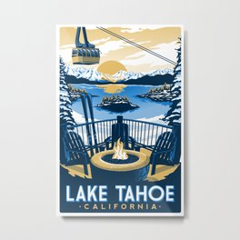 Lake tahoe California vintage travel poster Metal Print