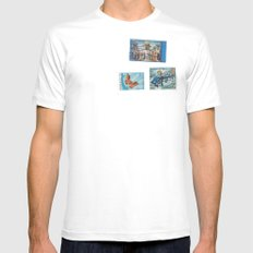 Postage Bleu White MEDIUM Mens Fitted Tee