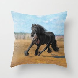 Drawing horse Throw Pillow