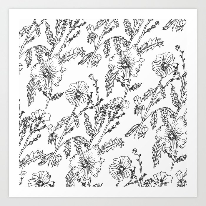 Black-White Flower Pattern Kunstdrucke