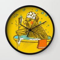 bath Wall Clocks featuring Bird Bath! by HFDee