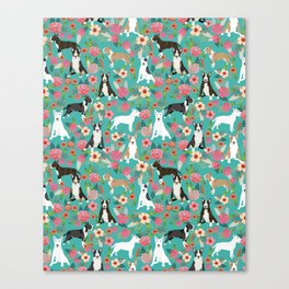 Bull Terrier dog breed pattern florals dog lover gifts pet friendly designs Canvas Print