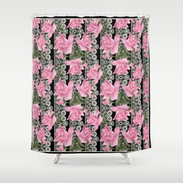 Gentle roses on a lace background. Shower Curtain