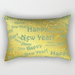blue Colorful design happy new year text in gold, festive, elegant gift for anyone in the family Rectangular Pillow