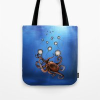 octopus Tote Bags featuring Octopus by Anna Shell