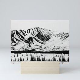 Black and White Mountains Mini Art Print