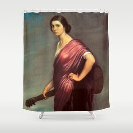 Classical Masterpiece 'La Copla' by Julio Romero de Torres Shower Curtain