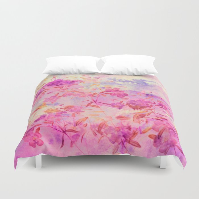 pink flowers and blue sky Duvet Cover
