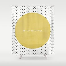 GREEN HELLO BEAUTIFUL - POLKA DOTS Shower Curtain