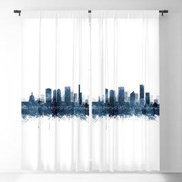 Edmonton Skyline Watercolor Navy Blue by Zouzounio Art Blackout Curtain