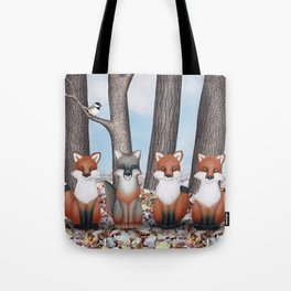 fox friends (with chickadees) Tote Bag