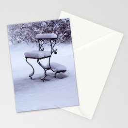 Concept Baden-Wurttemberg : Graveyard bench in snow Stationery Cards