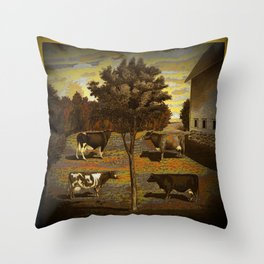 CowCurios 01 Throw Pillow