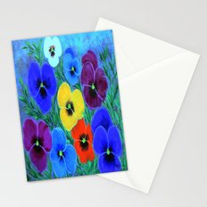 Painted pansies Stationery Cards