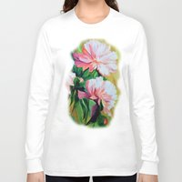 peonies Long Sleeve T-shirts featuring Peonies by OLHADARCHUK