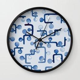 Blue Watercolour Zig Zag Wall Clock