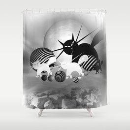 dreaming of mooncats bw -4- Shower Curtain