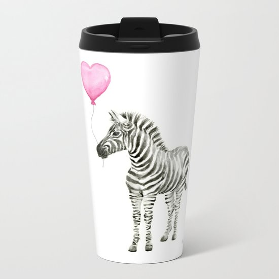 Zebra with Balloon Animal Watercolor Whimsical Animals Metal Travel Mug