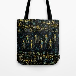 Egyptian Gods and hieroglyphs - Abalone and Gold Tote Bag