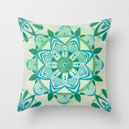 Simpe Blue/Green Mandala Throw Pillow