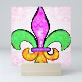 Fleur De Lis Pastel Tiny Love Hearts Mini Art Print