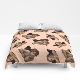 Classical Cherub Toss in Peach Fresco Comforters