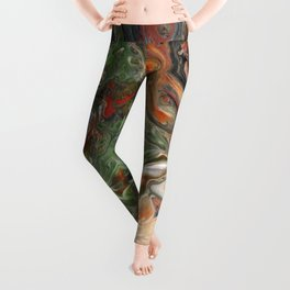 Green Rust Black Brown Lava Flow Leggings