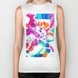 Forever and always 2 pink turquoise orange abstract acrylic paint Biker Tank