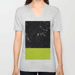 Lime Punch Meets Black Marble #1 #decor #art #society6 Unisex V-Neck