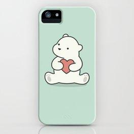Kawaii Cute Polar Bear With Heart iPhone Case