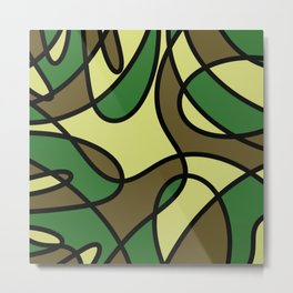 Camo Curves - Abstract, camouflage coloured pattern Metal Print