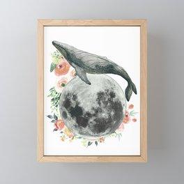 Moon Whale Framed Mini Art Print