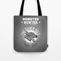 monster hunter Tote Bags featuring Monster Hunter All Stars - The Silver Sols by Bleached ink