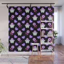 Lovely cute baby penguins, retro vintage purple lollipops and sweet candy hearts seamless pattern Wall Mural