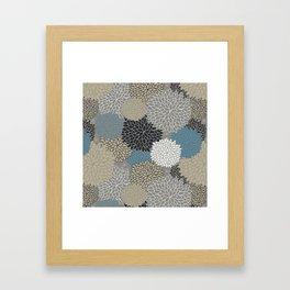 Floral Pattern Chrysanthemums Grey, Navy, Blue Framed Art Print