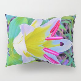 Beautiful White Trumpet Lily with Yellow Center Pillow Sham