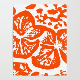 Red Linocut of Hydrangea Poster