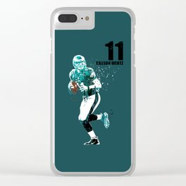 Carson Wentz #American football player on green Clear iPhone Case