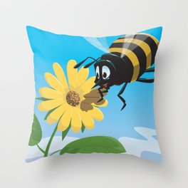 Happy cartoon bee with yellow flower LARGE Throw Pillow