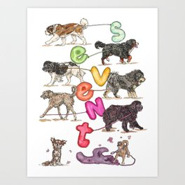 Dogs with Balloons Art Print