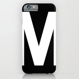 Letter M (White & Black) iPhone Case