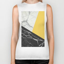Black and White Marble with Pantone Primrose Yellow Biker Tank
