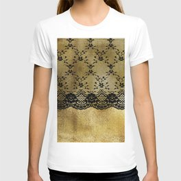 Black floral elegant lace on gold metal background T-shirt