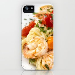 Spaghetti pasta with prawns iPhone Case