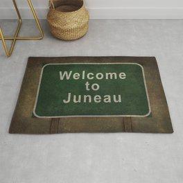 Welcome to Juneau roadside sign illustration Rug
