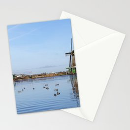 Traditional Dutch windmills at Zaanse Schans, Amsterdam, Netherland Stationery Cards