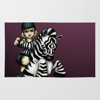 roller derby Area & Throw Rugs featuring Roller Derby Referee Zebra by RonkyTonk