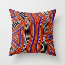 Authentic Aboriginal Art - Neurum Creek Bush Tracks Throw Pillow