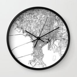 Tampa White Map Wall Clock